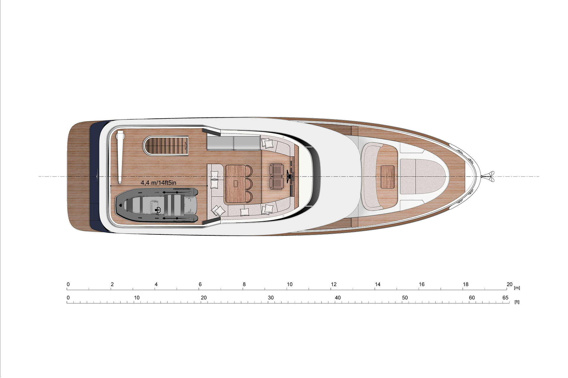 Open flybridge with second helm. Large L shaped sofa on the starboard side with a dining table. Barbecue corner located on the port side. There is a place for dinghy and hydraulic crane.