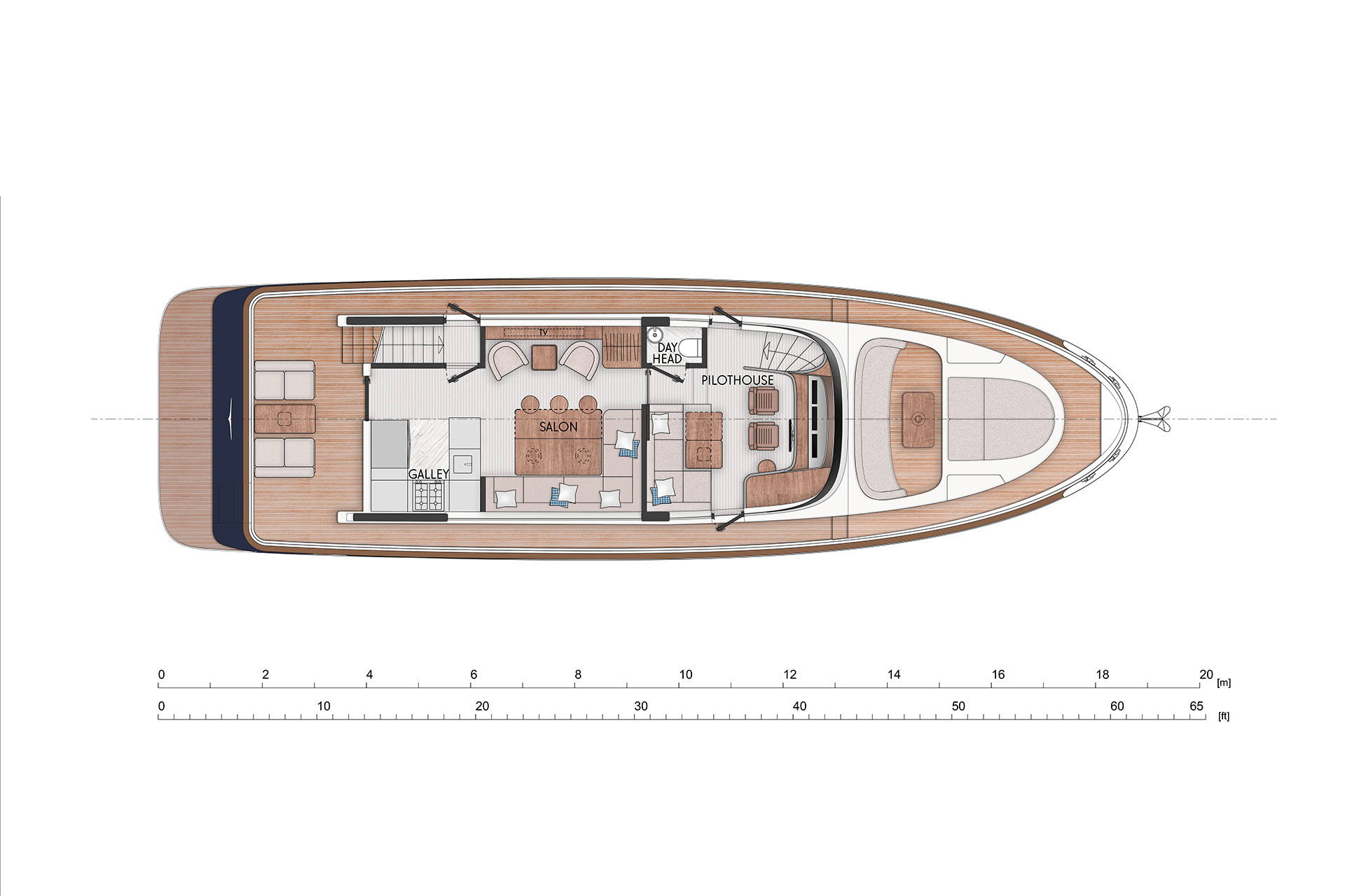 With a big galley  next to the aft deck. Comfortable  dining space in the center of the main deck with arm chairs on the opposite side. Separated helm station with extra sofa and desk. Day head located in the center of the main deck.