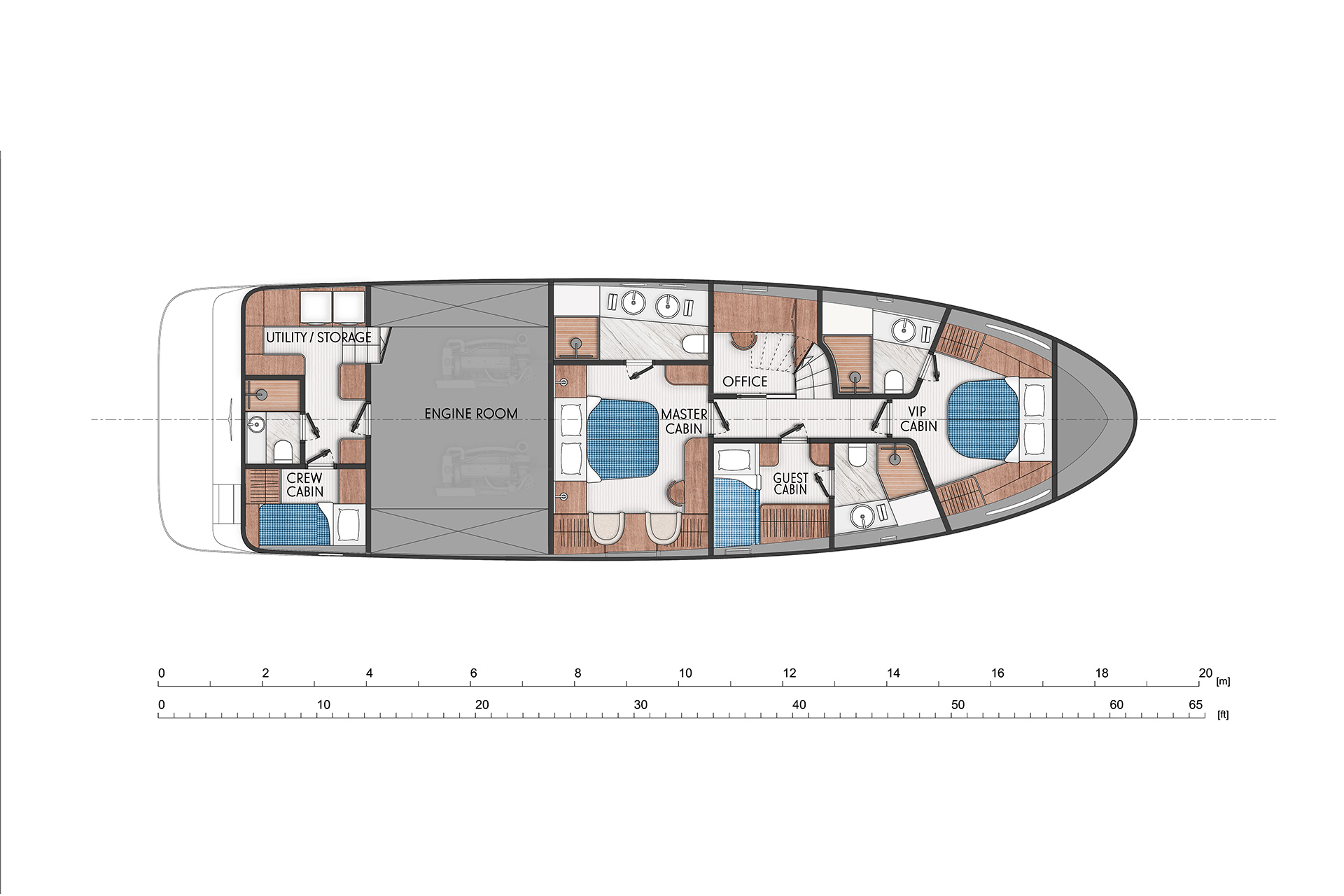 Three cabins with ensuite bathrooms. Version with bigger office on the port side.