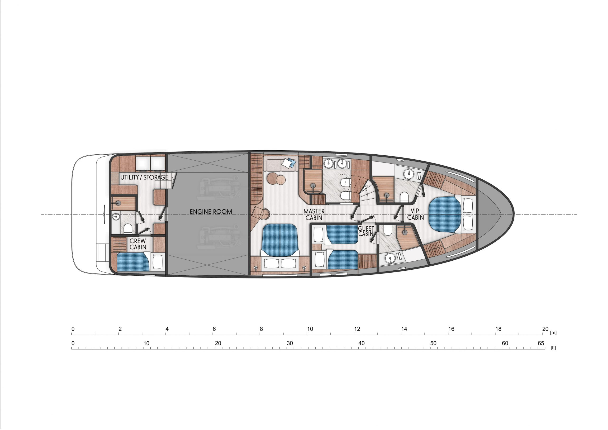 Three cabins with full beam Master stateroom